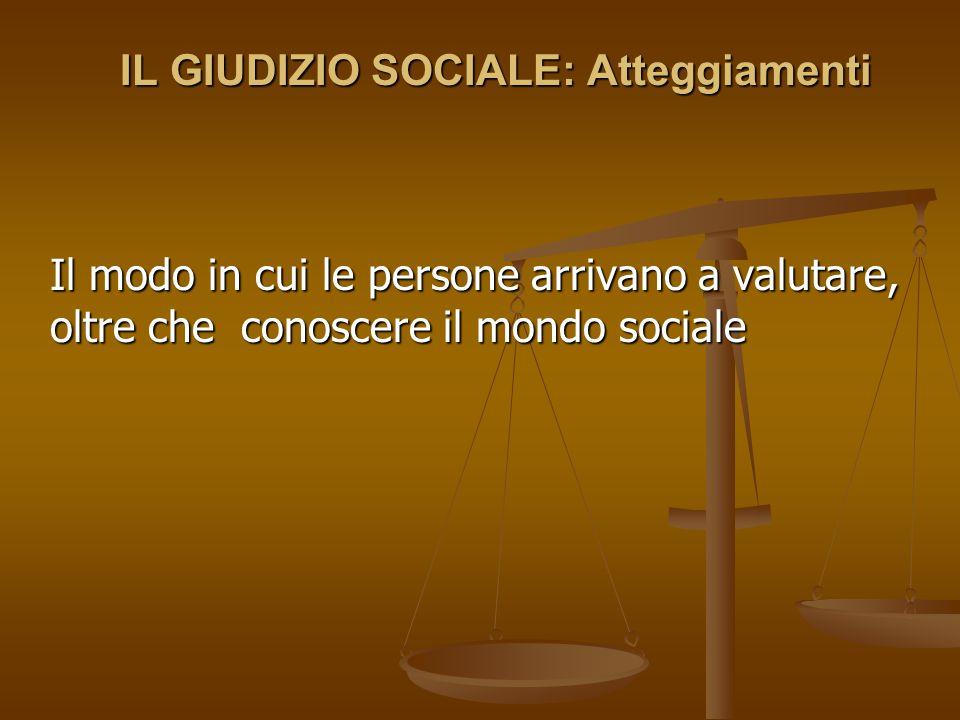 IL GIUDIZIO SOCIALE: Atteggiamenti Il modo in cui le persone arrivano a valutare, oltre che conoscere il mondo sociale