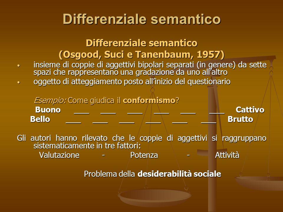 Differenziale semantico (Osgood, Suci e Tanenbaum, 1957) insieme di coppie di aggettivi bipolari separati (in genere) da sette spazi che rappresentano
