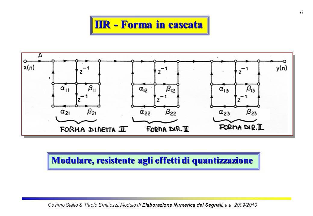 7 IIR - Forma in parallelo Cosimo Stallo & Paolo Emiliozzi, Modulo di Elaborazione Numerica dei Segnali, a.a.