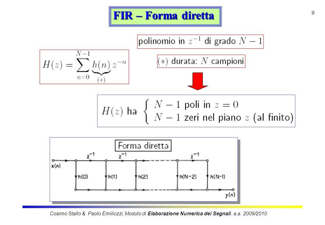 10 FIR – Forma in cascata Cosimo Stallo & Paolo Emiliozzi, Modulo di Elaborazione Numerica dei Segnali, a.a.