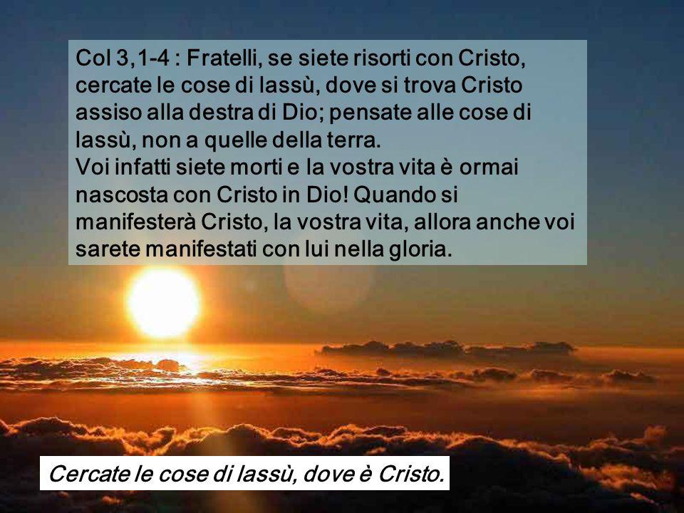 Col 3,1-4 : Fratelli, se siete risorti con Cristo, cercate le cose di lassù, dove si trova Cristo assiso alla destra di Dio; pensate alle cose di lassù, non a quelle della terra.