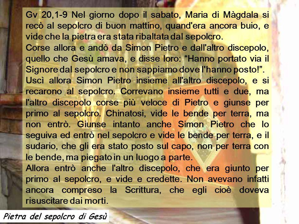 Gv 20,1-9 Nel giorno dopo il sabato, Maria di Màgdala si recò al sepolcro di buon mattino, quand era ancora buio, e vide che la pietra era stata ribaltata dal sepolcro.