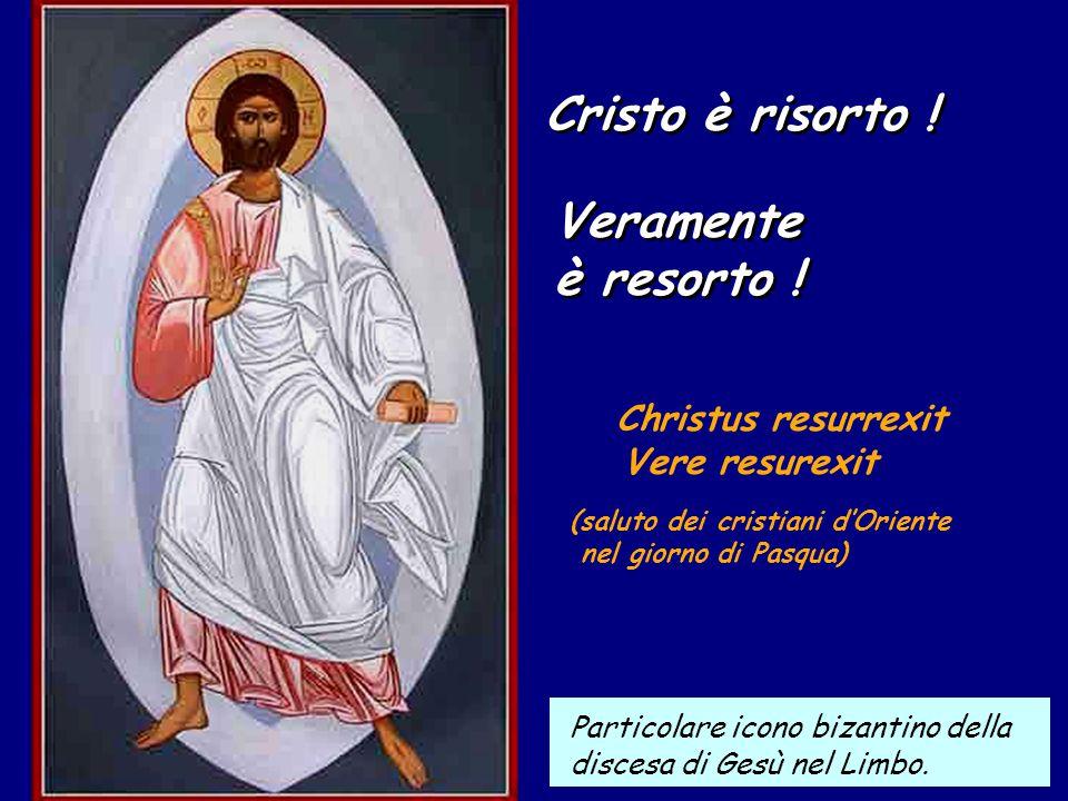 Cristo è risorto .Cristo è risorto . Veramente è resorto .