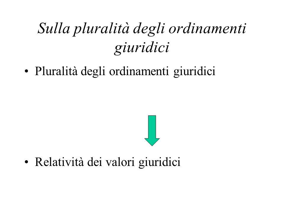 Sulla pluralità degli ordinamenti giuridici Pluralità degli ordinamenti giuridici Relatività dei valori giuridici