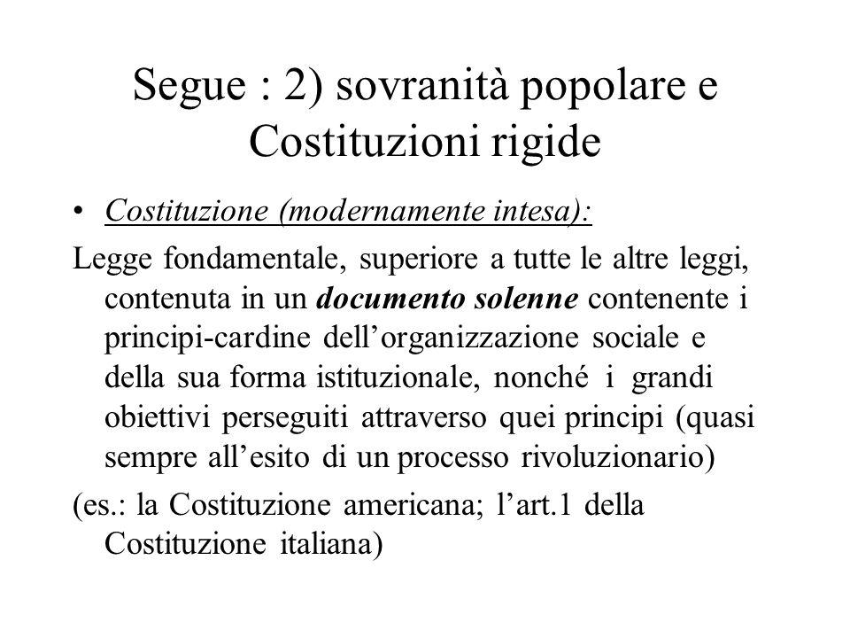 Segue : 2) sovranità popolare e Costituzioni rigide Costituzione (modernamente intesa): Legge fondamentale, superiore a tutte le altre leggi, contenut