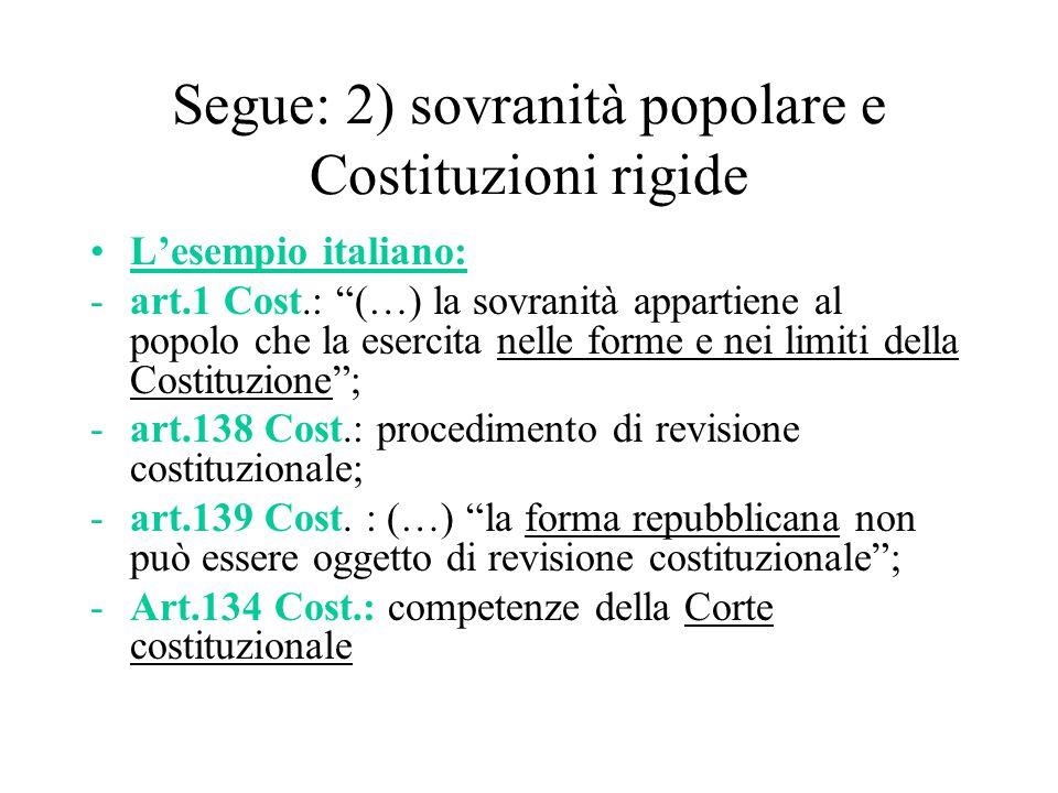 """Segue: 2) sovranità popolare e Costituzioni rigide L'esempio italiano: -art.1 Cost.: """"(…) la sovranità appartiene al popolo che la esercita nelle form"""