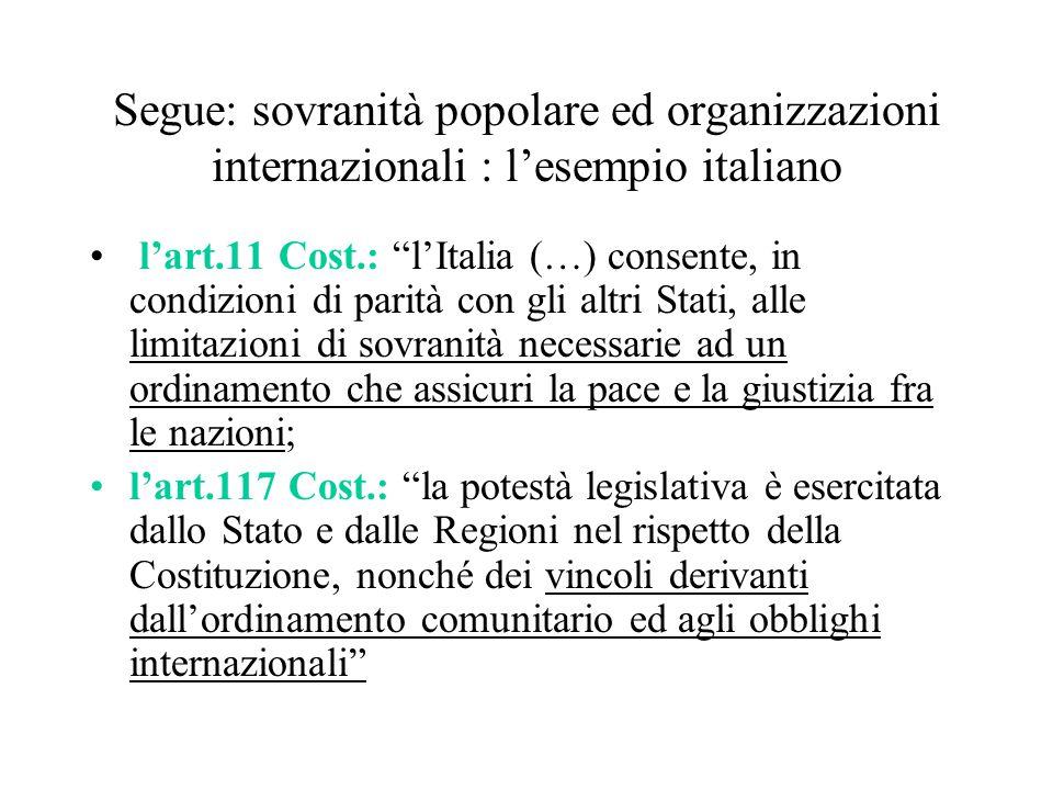 """Segue: sovranità popolare ed organizzazioni internazionali : l'esempio italiano l'art.11 Cost.: """"l'Italia (…) consente, in condizioni di parità con gl"""