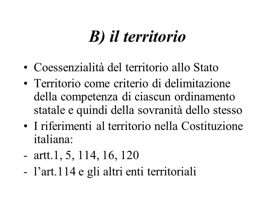 B) il territorio Coessenzialità del territorio allo Stato Territorio come criterio di delimitazione della competenza di ciascun ordinamento statale e