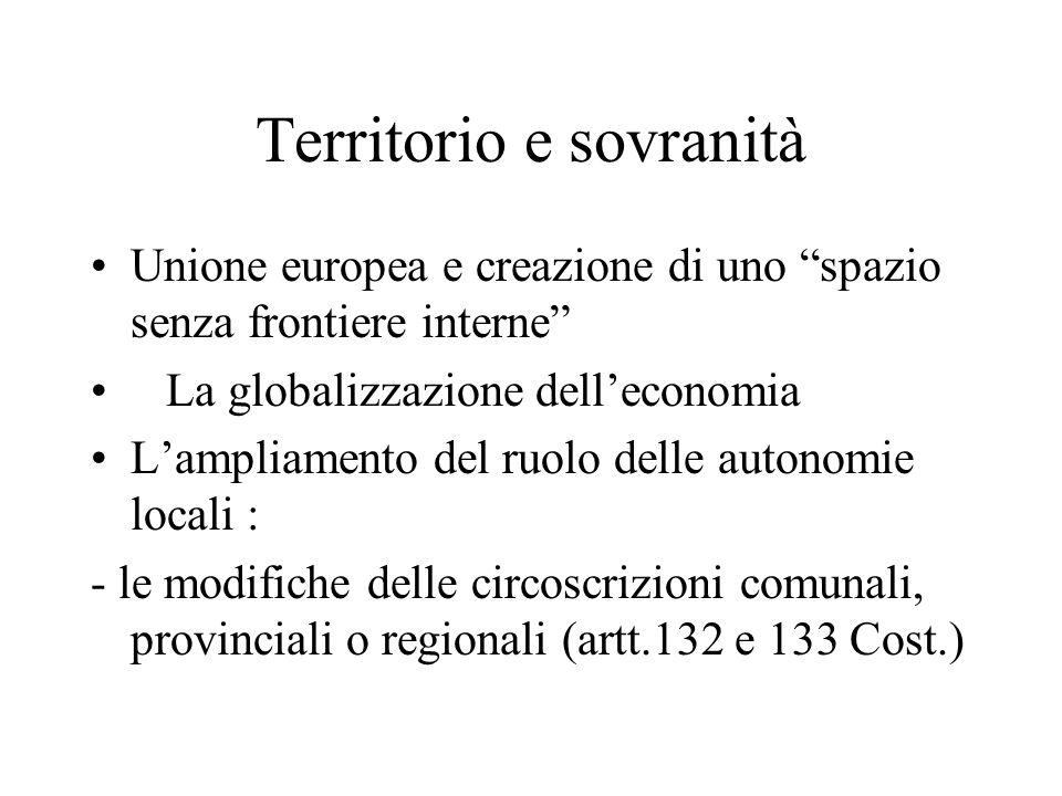 """Territorio e sovranità Unione europea e creazione di uno """"spazio senza frontiere interne"""" La globalizzazione dell'economia L'ampliamento del ruolo del"""