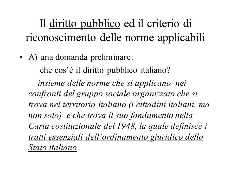 Il diritto pubblico ed il criterio di riconoscimento delle norme applicabili A) una domanda preliminare: che cos'è il diritto pubblico italiano? insie