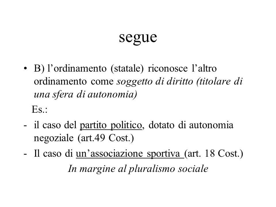 segue B) l'ordinamento (statale) riconosce l'altro ordinamento come soggetto di diritto (titolare di una sfera di autonomia) Es.: -il caso del partito