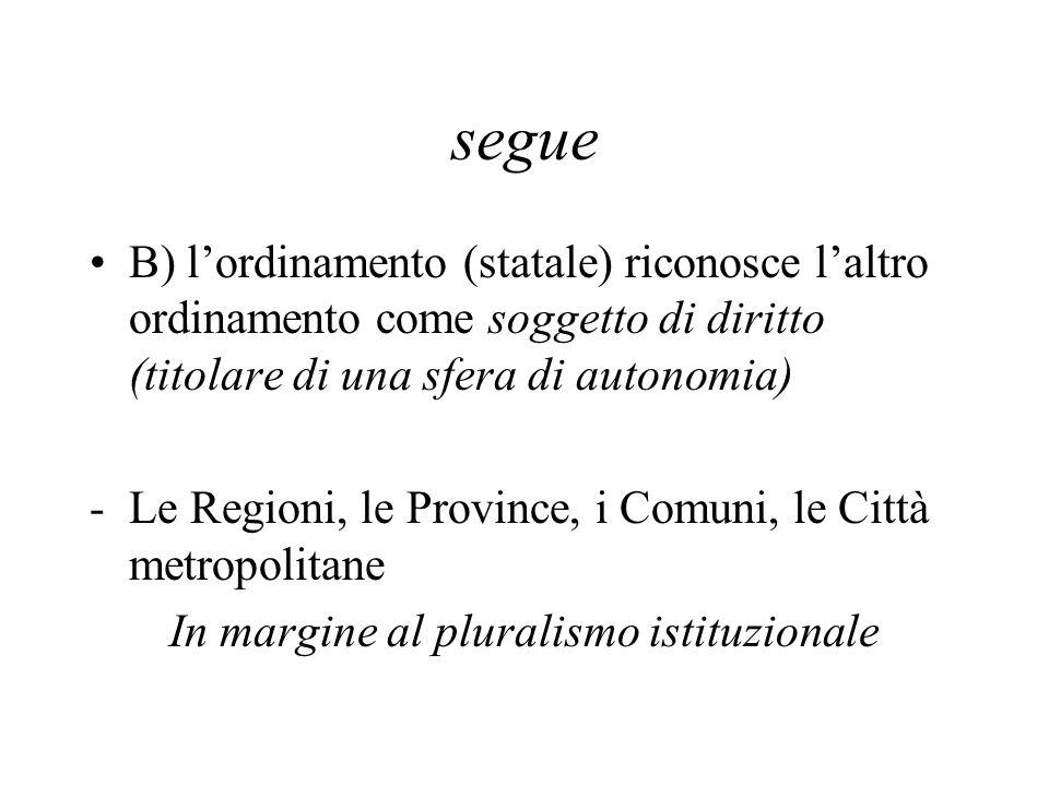 segue B) l'ordinamento (statale) riconosce l'altro ordinamento come soggetto di diritto (titolare di una sfera di autonomia) -Le Regioni, le Province,