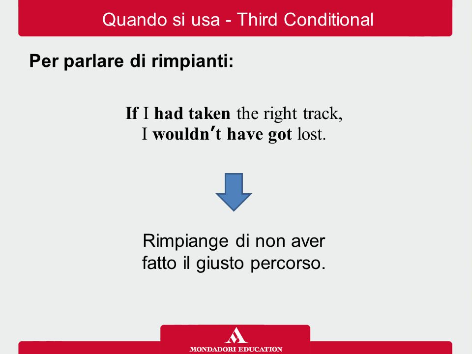Quando si usa - Third Conditional Per parlare di rimpianti: If I had taken the right track, I wouldn't have got lost. Rimpiange di non aver fatto il g