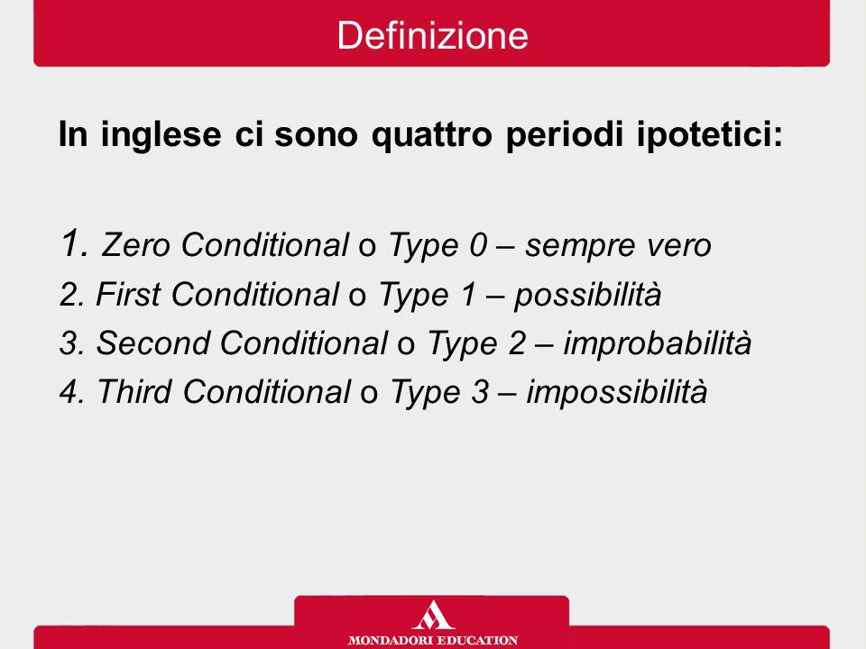 In inglese ci sono quattro periodi ipotetici: 1. Zero Conditional o Type 0 – sempre vero 2. First Conditional o Type 1 – possibilità 3. Second Conditi