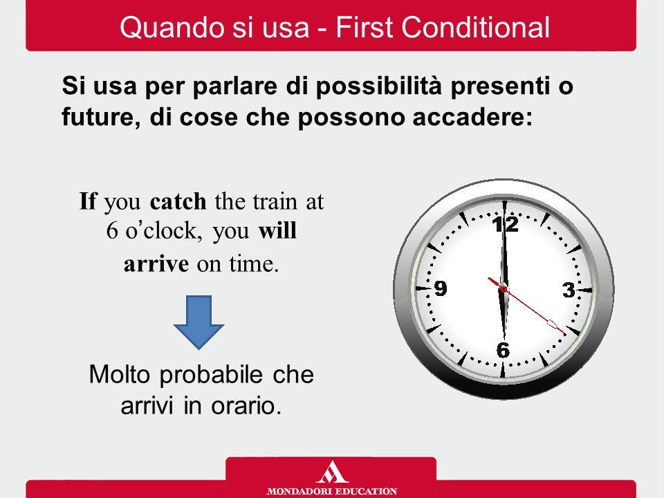 Quando si usa - First Conditional Si usa per parlare di possibilità presenti o future, di cose che possono accadere: If you catch the train at 6 o'clo