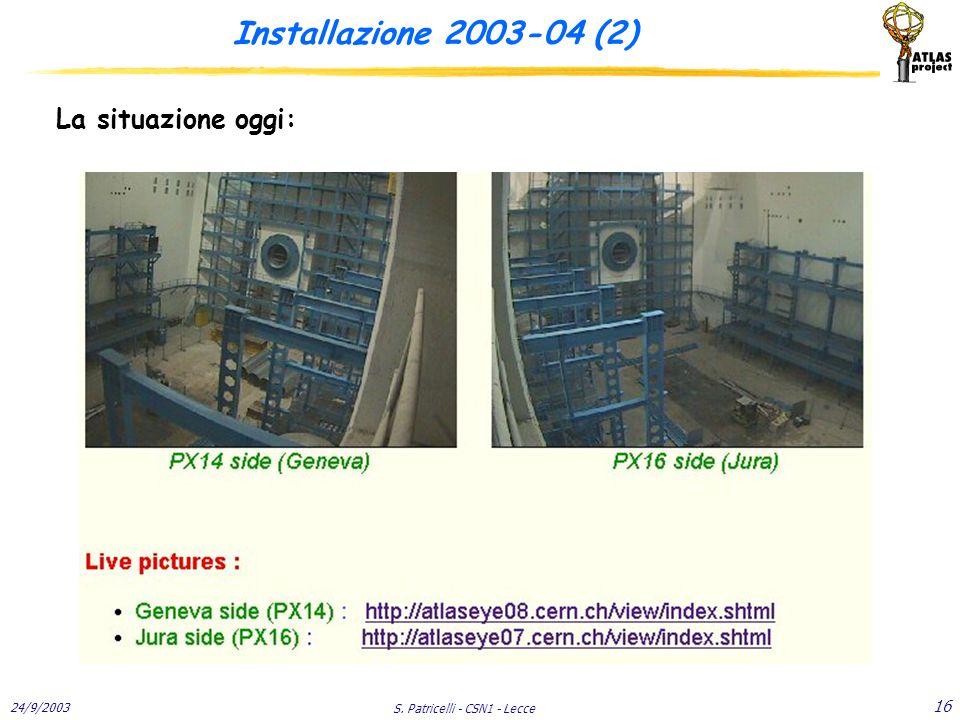 24/9/2003 S. Patricelli - CSN1 - Lecce 16 Installazione 2003-04 (2) La situazione oggi: