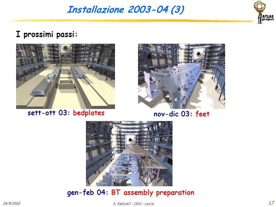 24/9/2003 S. Patricelli - CSN1 - Lecce 17 Installazione 2003-04 (3) I prossimi passi: sett-ott 03: bedplates nov-dic 03: feet gen-feb 04: BT assembly