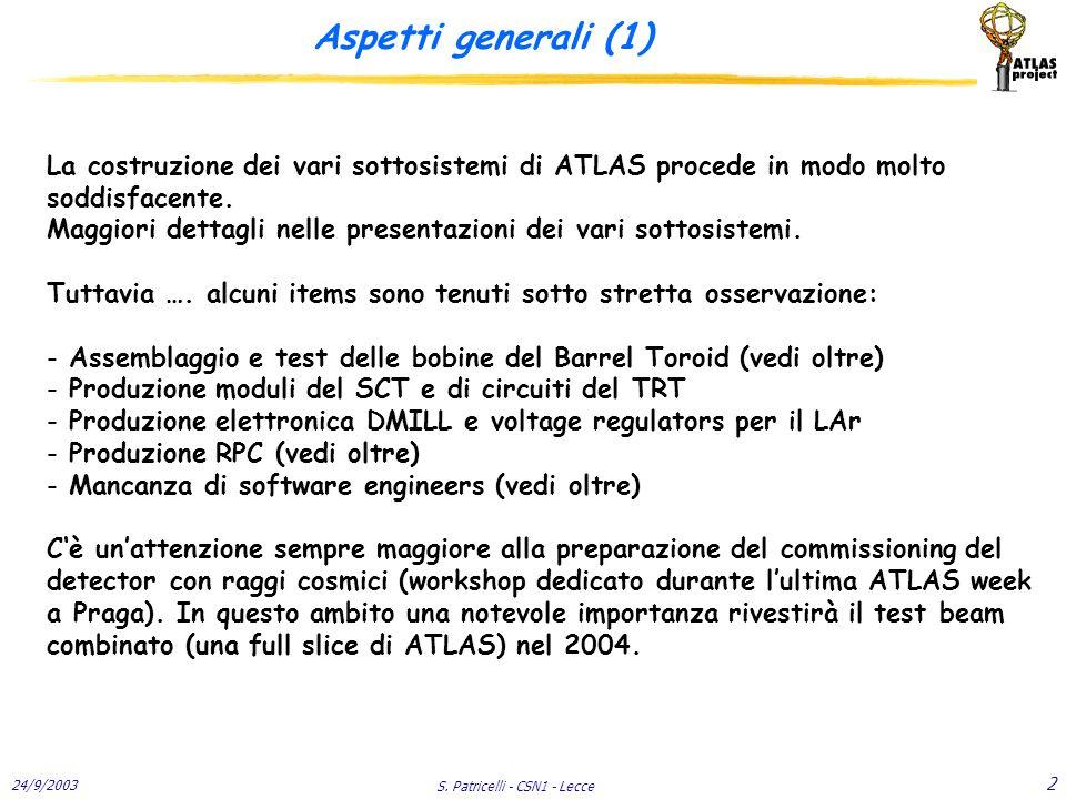 24/9/2003 S. Patricelli - CSN1 - Lecce 2 Aspetti generali (1) La costruzione dei vari sottosistemi di ATLAS procede in modo molto soddisfacente. Maggi
