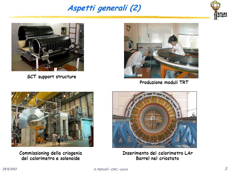 24/9/2003 S. Patricelli - CSN1 - Lecce 3 Aspetti generali (2) SCT support structure Commissioning della criogenia del calorimetro e solenoide Inserime