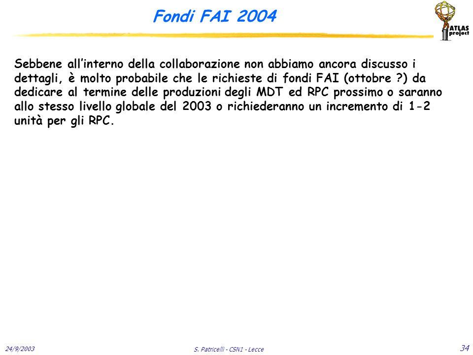 24/9/2003 S. Patricelli - CSN1 - Lecce 34 Fondi FAI 2004 Sebbene all'interno della collaborazione non abbiamo ancora discusso i dettagli, è molto prob