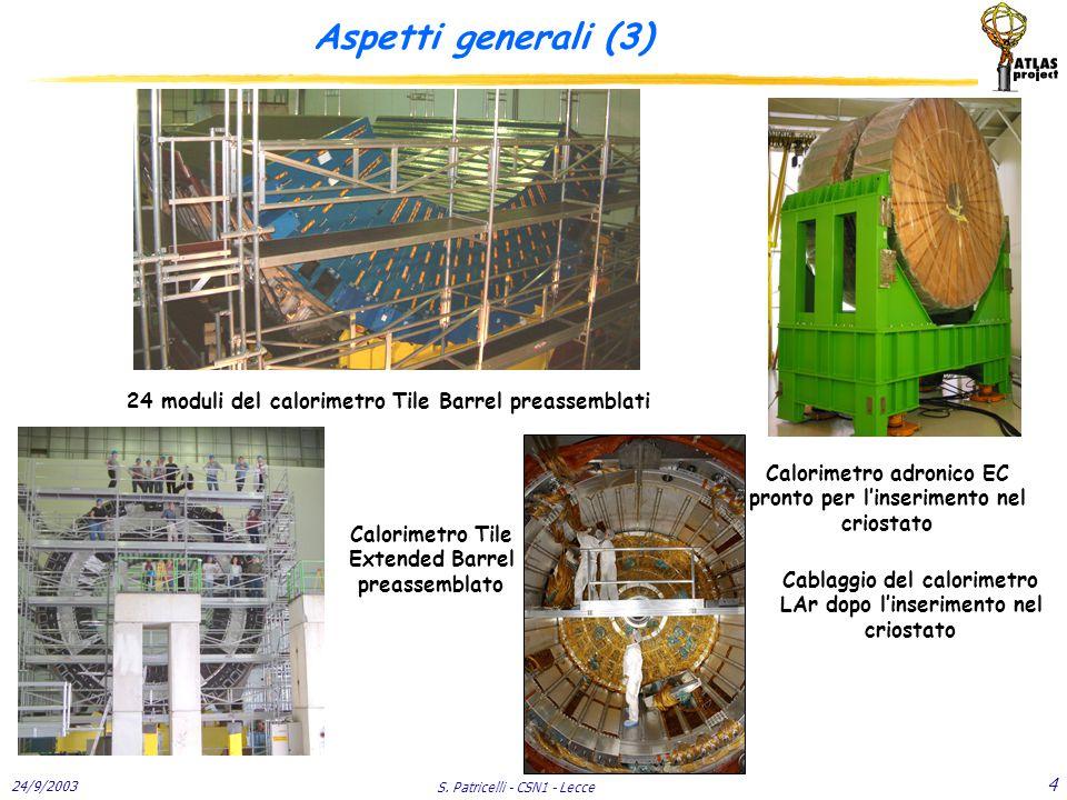 24/9/2003 S. Patricelli - CSN1 - Lecce 4 Aspetti generali (3) 24 moduli del calorimetro Tile Barrel preassemblati Calorimetro adronico EC pronto per l