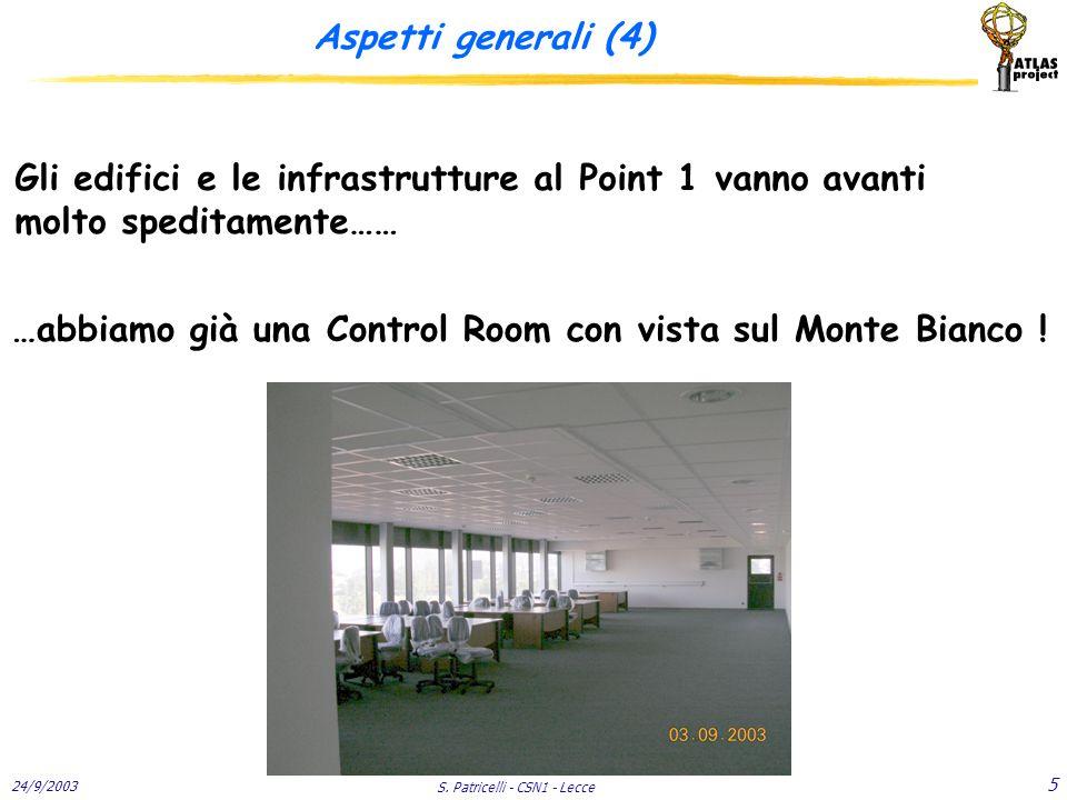 24/9/2003 S. Patricelli - CSN1 - Lecce 5 Aspetti generali (4) Gli edifici e le infrastrutture al Point 1 vanno avanti molto speditamente…… …abbiamo gi