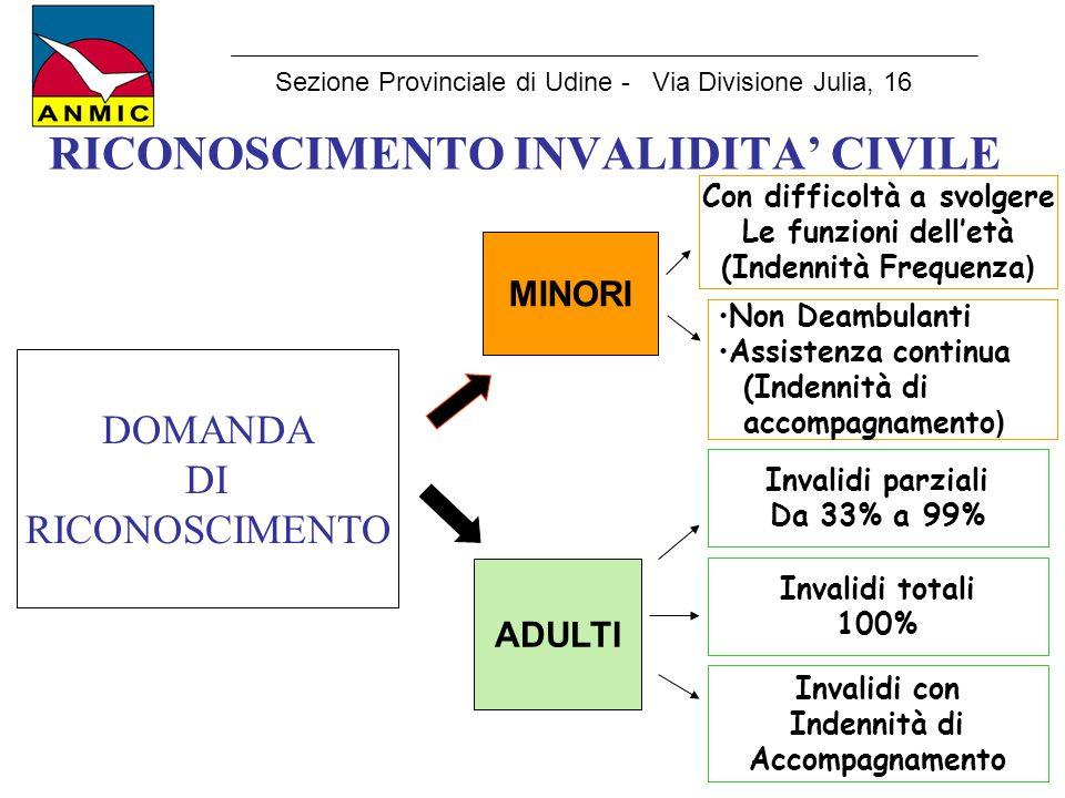RICONOSCIMENTO INVALIDITA' CIVILE Sezione Provinciale di Udine - Via Divisione Julia, 16 DOMANDA DI RICONOSCIMENTO MINORI ADULTI Con difficoltà a svol