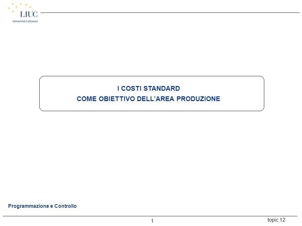 topic 12 1 Programmazione e Controllo I COSTI STANDARD COME OBIETTIVO DELL'AREA PRODUZIONE