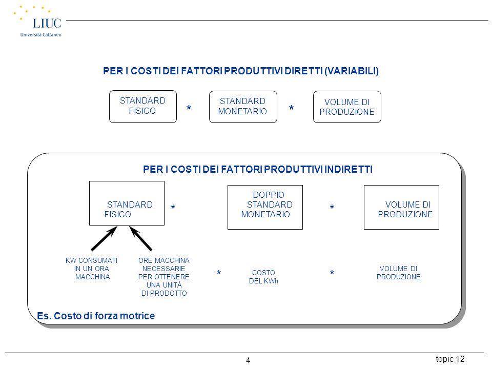 topic 12 4 PER I COSTI DEI FATTORI PRODUTTIVI DIRETTI (VARIABILI) PER I COSTI DEI FATTORI PRODUTTIVI INDIRETTI VOLUME DI PRODUZIONE ** DOPPIO STANDARD