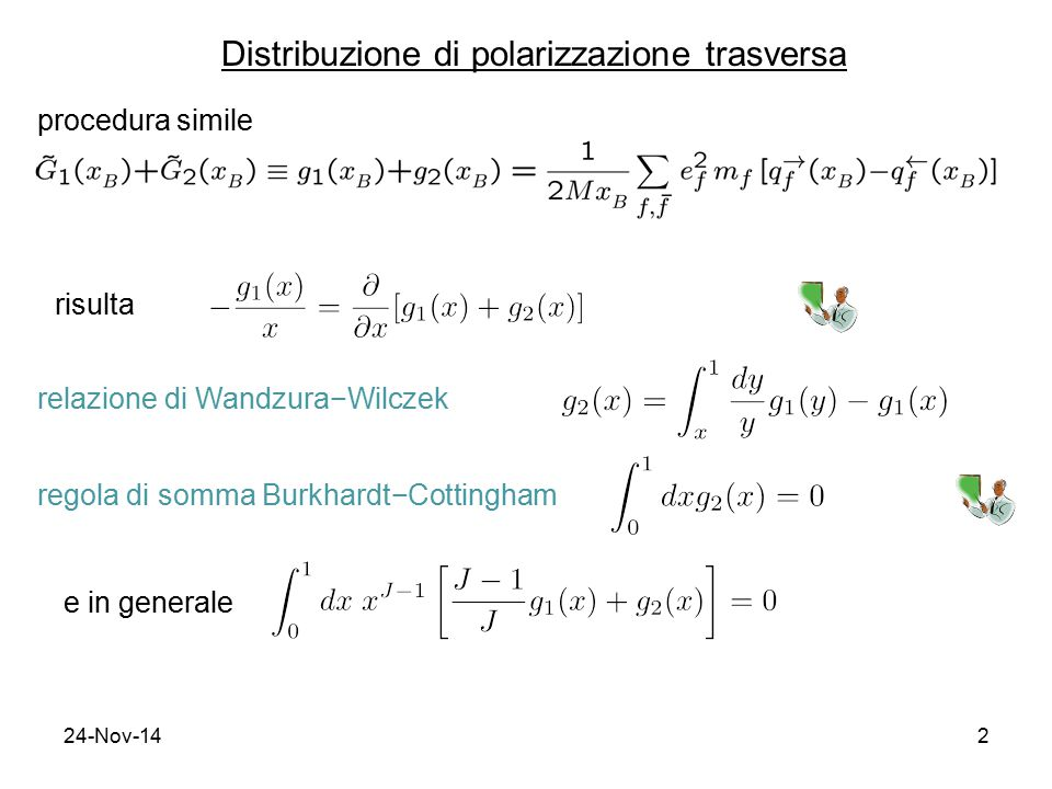 24-Nov-142 Distribuzione di polarizzazione trasversa procedura simile risulta relazione di Wandzura−Wilczek regola di somma Burkhardt−Cottingham e in generale