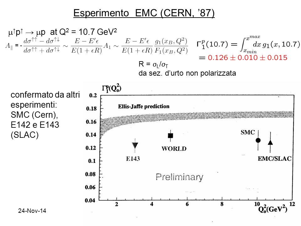24-Nov-145  ↑ p ↑ →  p at Q 2 = 10.7 GeV 2 confermato da altri esperimenti: SMC (Cern), E142 e E143 (SLAC) R =  L /  T da sez. d'urto non polarizz