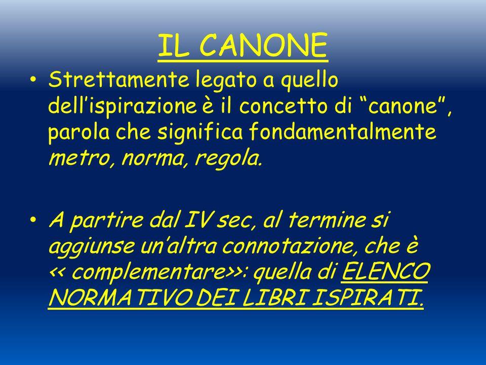 IL CANONE Strettamente legato a quello dell'ispirazione è il concetto di canone , parola che significa fondamentalmente metro, norma, regola.
