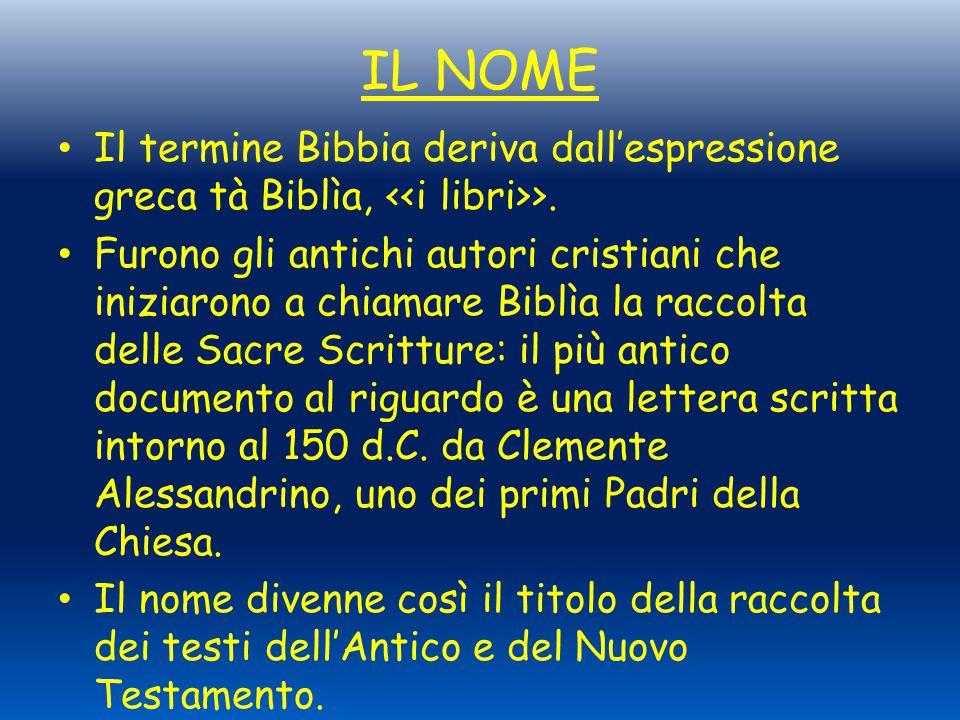 IL NOME Il termine Bibbia deriva dall'espressione greca tà Biblìa, >. Furono gli antichi autori cristiani che iniziarono a chiamare Biblìa la raccolta