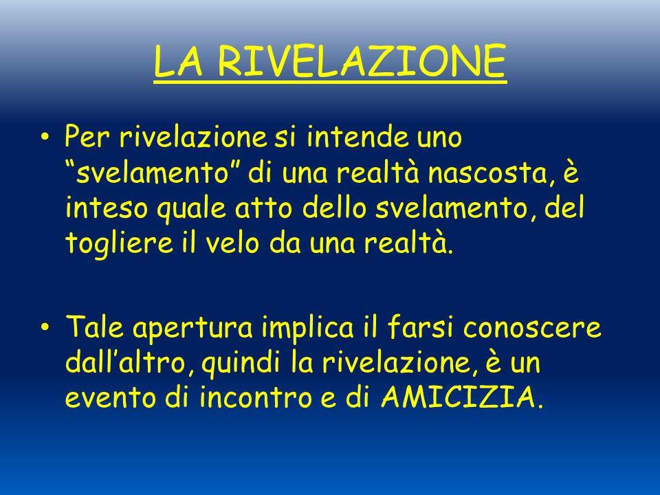 """LA RIVELAZIONE Per rivelazione si intende uno """"svelamento"""" di una realtà nascosta, è inteso quale atto dello svelamento, del togliere il velo da una r"""
