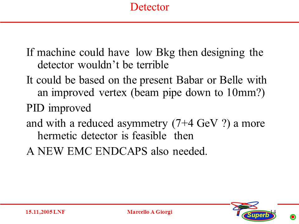 15.11,2005 LNFMarcello A Giorgi14 Detector If machine could have low Bkg then designing the detector wouldn't be terrible It could be based on the present Babar or Belle with an improved vertex (beam pipe down to 10mm ) PID improved and with a reduced asymmetry (7+4 GeV ) a more hermetic detector is feasible then A NEW EMC ENDCAPS also needed.