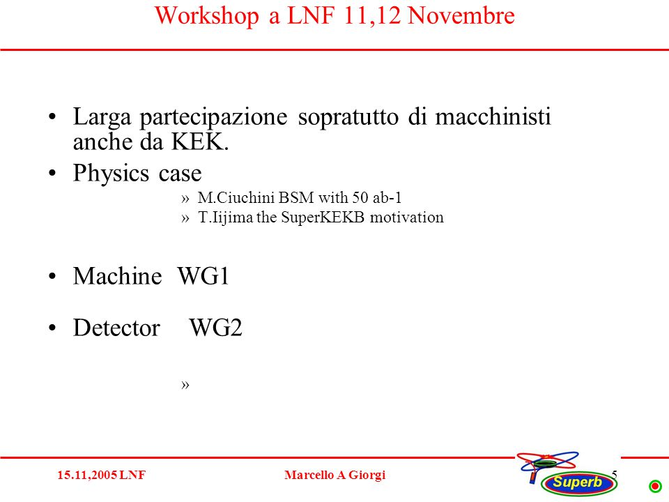 15.11,2005 LNFMarcello A Giorgi16 Conclusion What we learned : MACHINE parameters is the issue.
