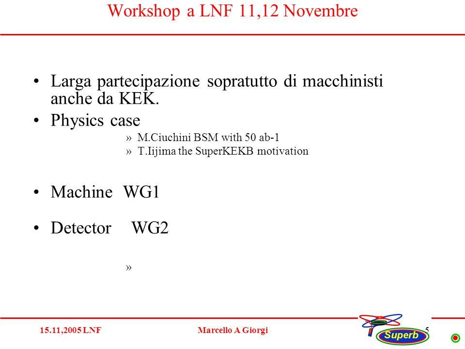 15.11,2005 LNFMarcello A Giorgi5 Workshop a LNF 11,12 Novembre Larga partecipazione sopratutto di macchinisti anche da KEK.