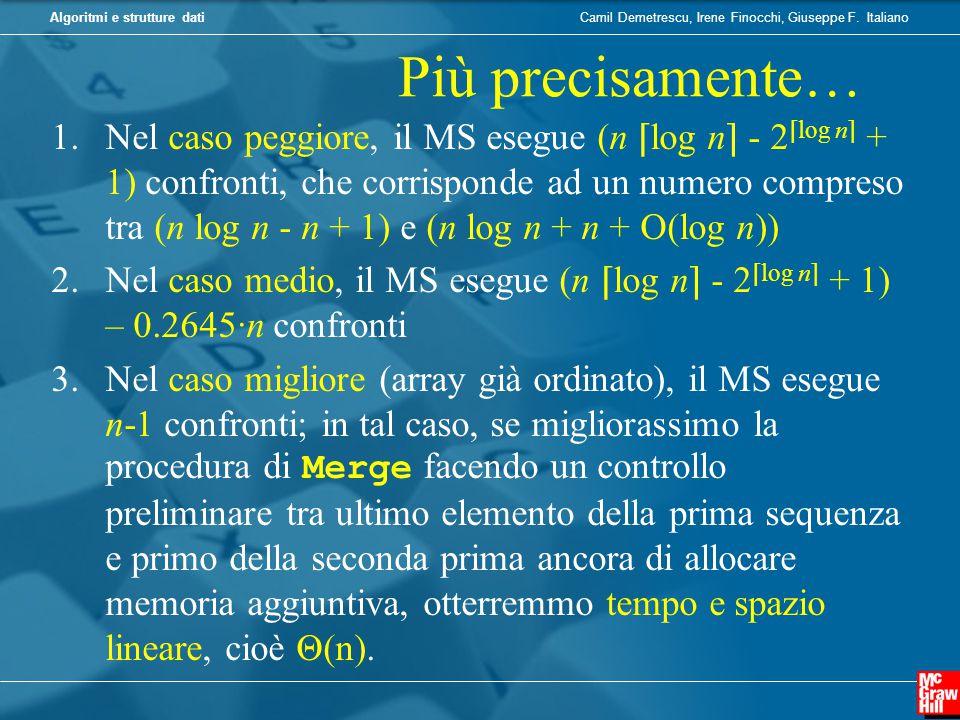 Camil Demetrescu, Irene Finocchi, Giuseppe F. ItalianoAlgoritmi e strutture dati Più precisamente… 1.Nel caso peggiore, il MS esegue (n ⌈ log n ⌉ - 2