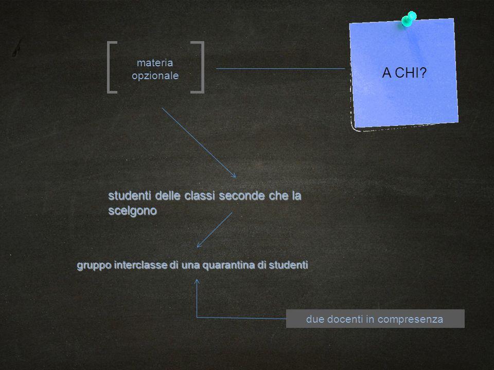 A CHI? materia opzionale studenti delle classi seconde che la scelgono gruppo interclasse di una quarantina di studenti due docenti in compresenza