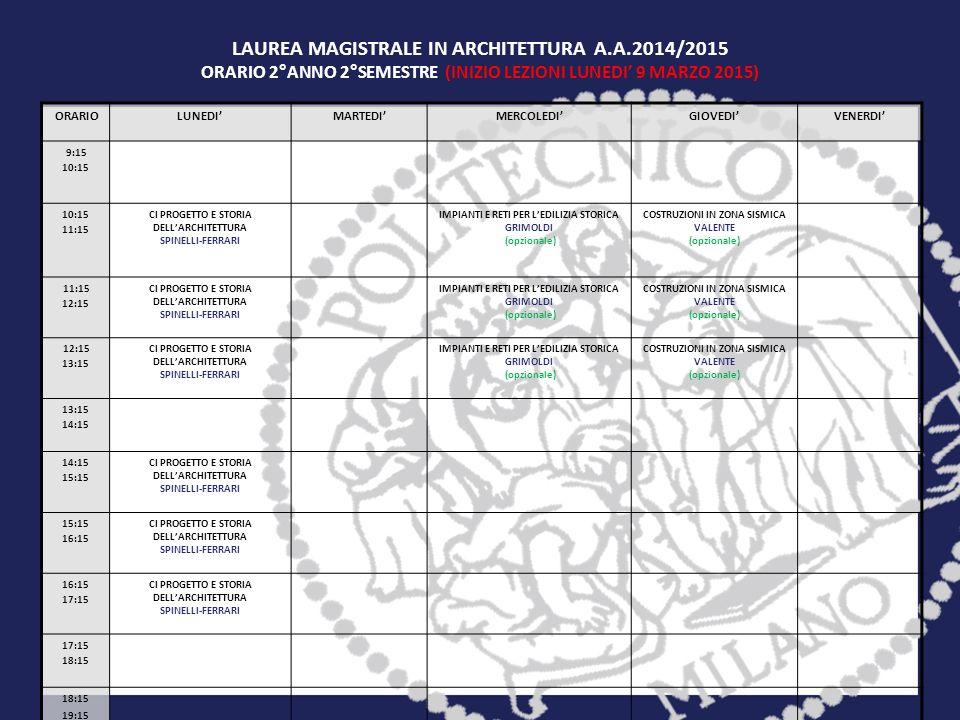 LAUREA MAGISTRALE IN ARCHITETTURA A.A.2014/2015 ORARIO 2°ANNO 2°SEMESTRE (INIZIO LEZIONI LUNEDI' 9 MARZO 2015) ORARIOLUNEDI'MARTEDI'MERCOLEDI'GIOVEDI'