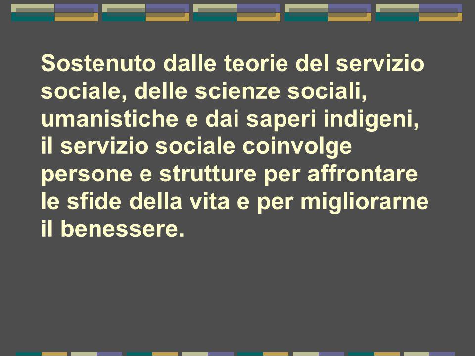 Sostenuto dalle teorie del servizio sociale, delle scienze sociali, umanistiche e dai saperi indigeni, il servizio sociale coinvolge persone e struttu