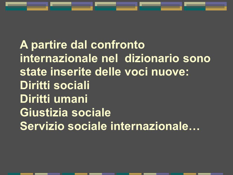 A partire dal confronto internazionale nel dizionario sono state inserite delle voci nuove: Diritti sociali Diritti umani Giustizia sociale Servizio sociale internazionale…