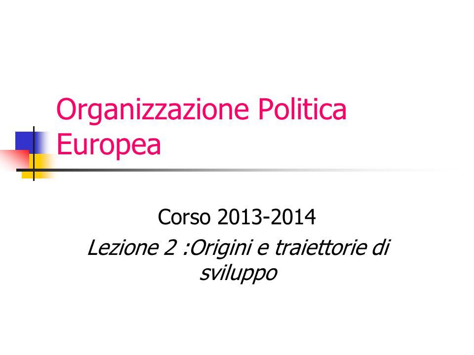 Organizzazione Politica Europea Corso 2013-2014 Lezione 2 :Origini e traiettorie di sviluppo