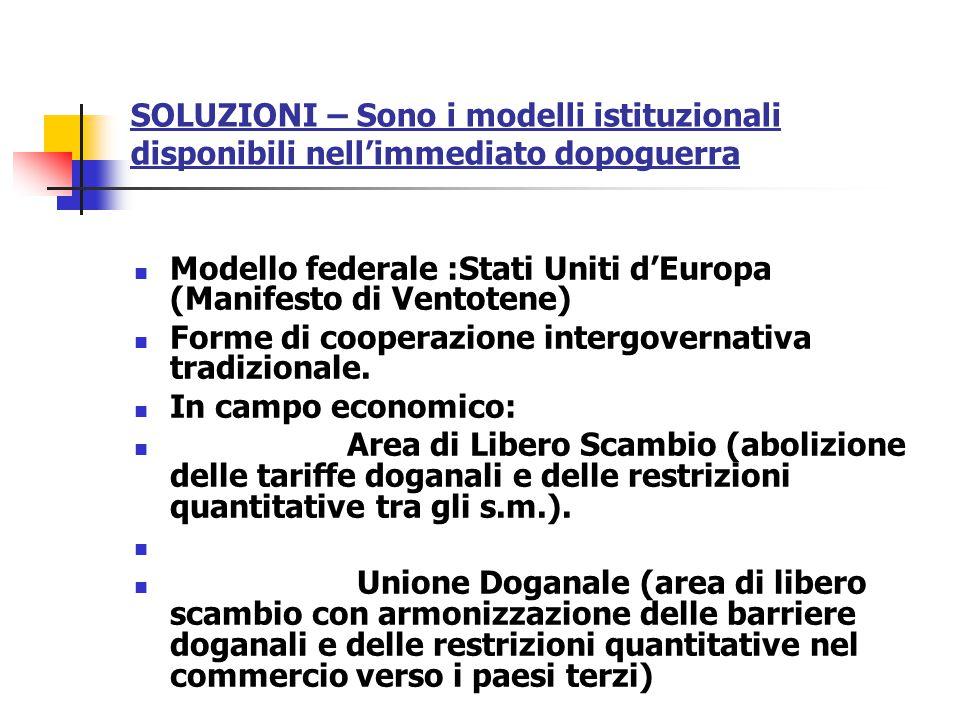 SOLUZIONI – Sono i modelli istituzionali disponibili nell'immediato dopoguerra Modello federale :Stati Uniti d'Europa (Manifesto di Ventotene) Forme d