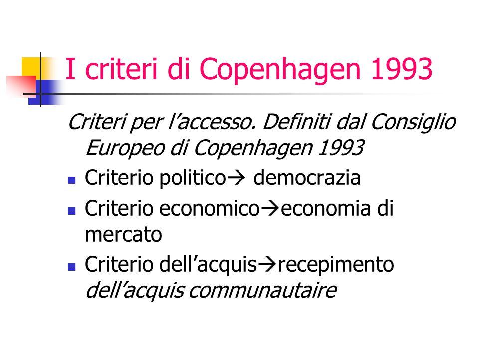 I criteri di Copenhagen 1993 Criteri per l'accesso. Definiti dal Consiglio Europeo di Copenhagen 1993 Criterio politico  democrazia Criterio economic