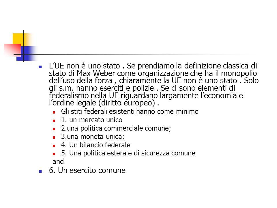 L'UE non è uno stato. Se prendiamo la definizione classica di stato di Max Weber come organizzazione che ha il monopolio dell'uso della forza, chiaram