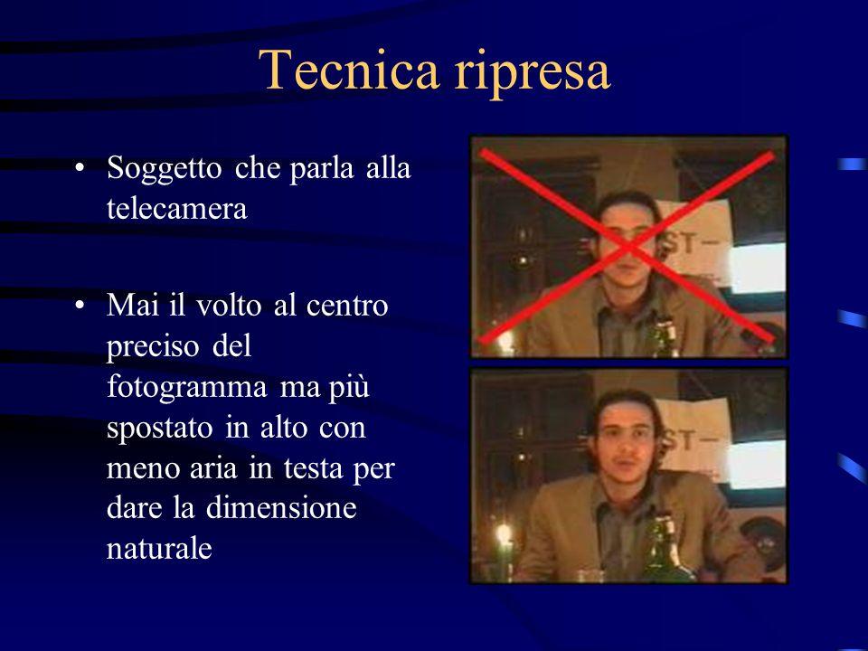 Tecnica ripresa Soggetto che parla alla telecamera Mai il volto al centro preciso del fotogramma ma più spostato in alto con meno aria in testa per dare la dimensione naturale