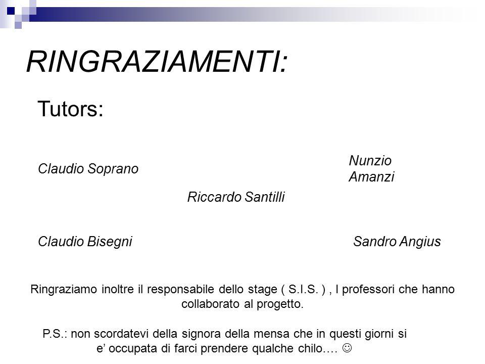 RINGRAZIAMENTI: Tutors: Claudio Soprano Nunzio Amanzi Sandro AngiusClaudio Bisegni Ringraziamo inoltre il responsabile dello stage ( S.I.S.