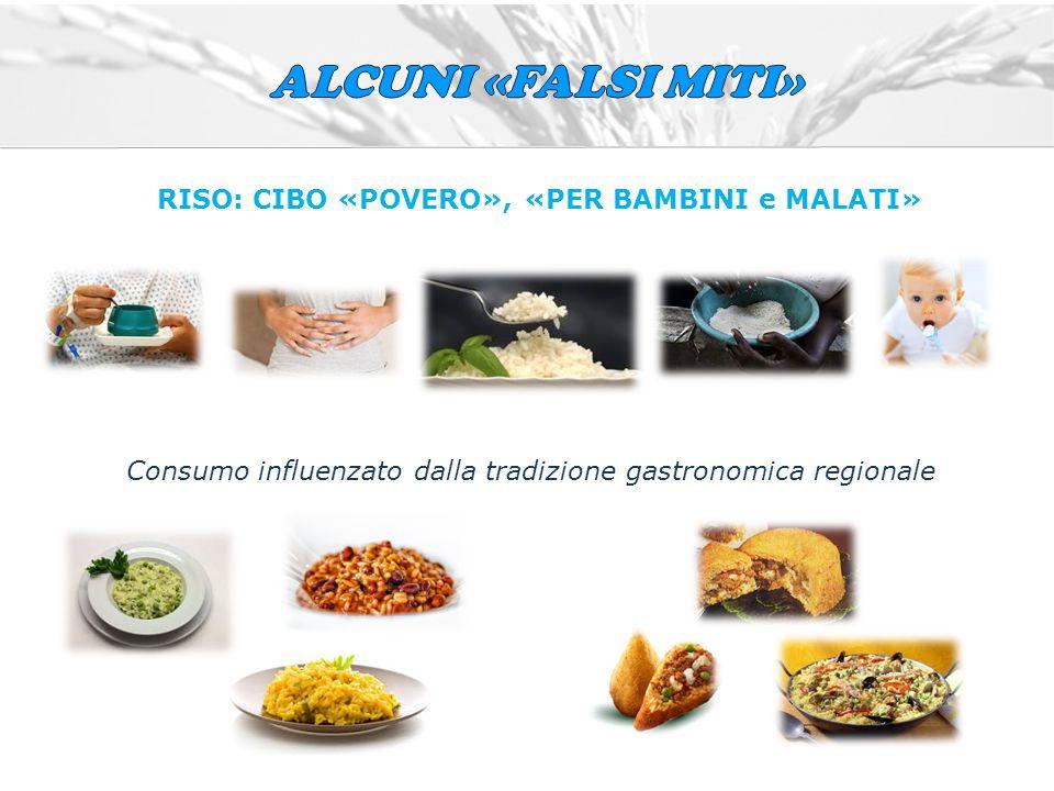 RISO: CIBO «POVERO», «PER BAMBINI e MALATI» Consumo influenzato dalla tradizione gastronomica regionale
