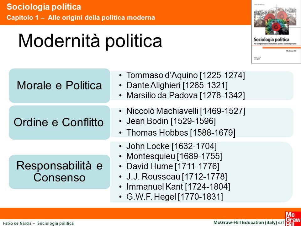 Fabio de Nardis – Sociologia politica McGraw-Hill Education (italy) srl Modernità politica Sociologia politica Capitolo 1 – Alle origini della politic
